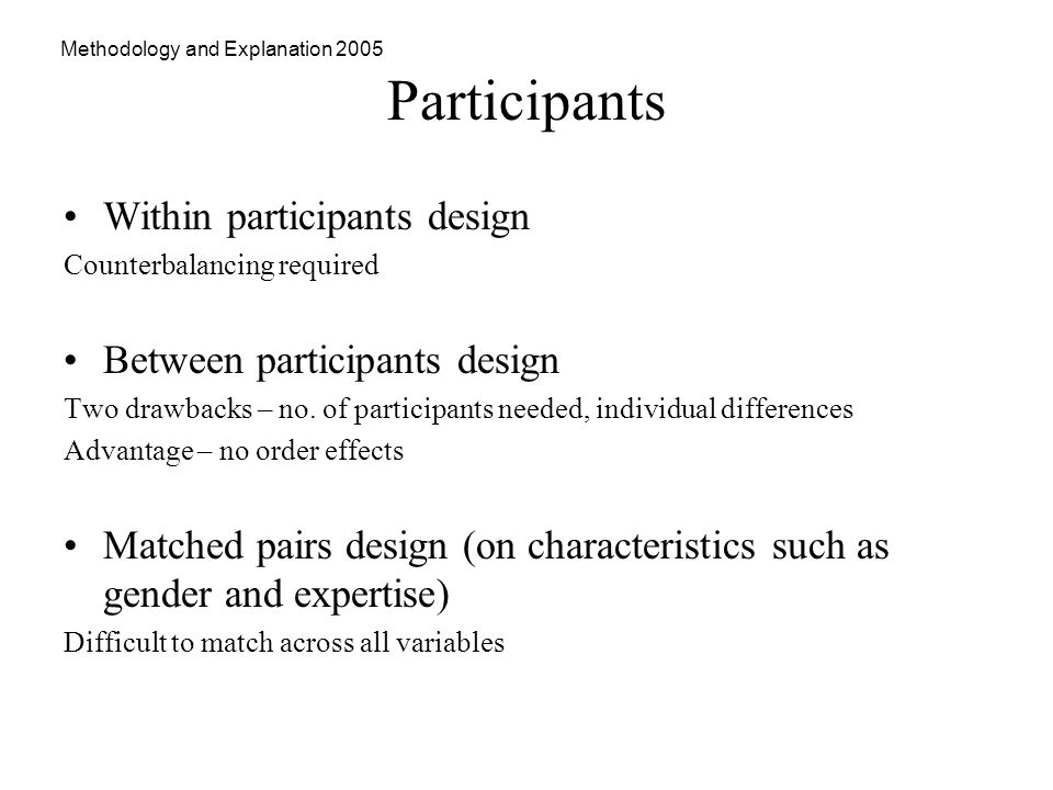 Methodology and Explanation 2005 Participants Within participants design Counterbalancing required Between participants design Two drawbacks – no.