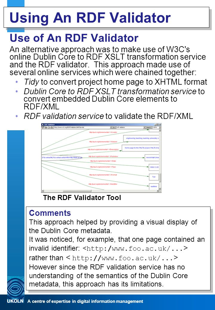 A centre of expertise in digital information management Using An RDF Validator Use of An RDF Validator An alternative approach was to make use of W3C s online Dublin Core to RDF XSLT transformation service and the RDF validator.