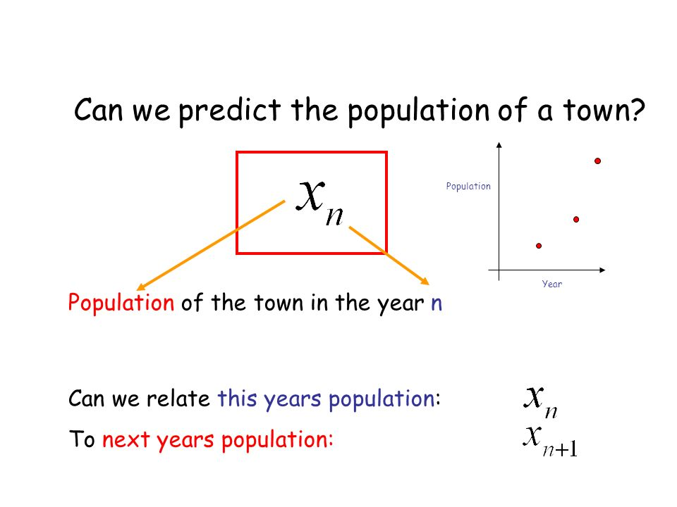 Population of the town in the year n Can we relate this years population: To next years population: Can we predict the population of a town.