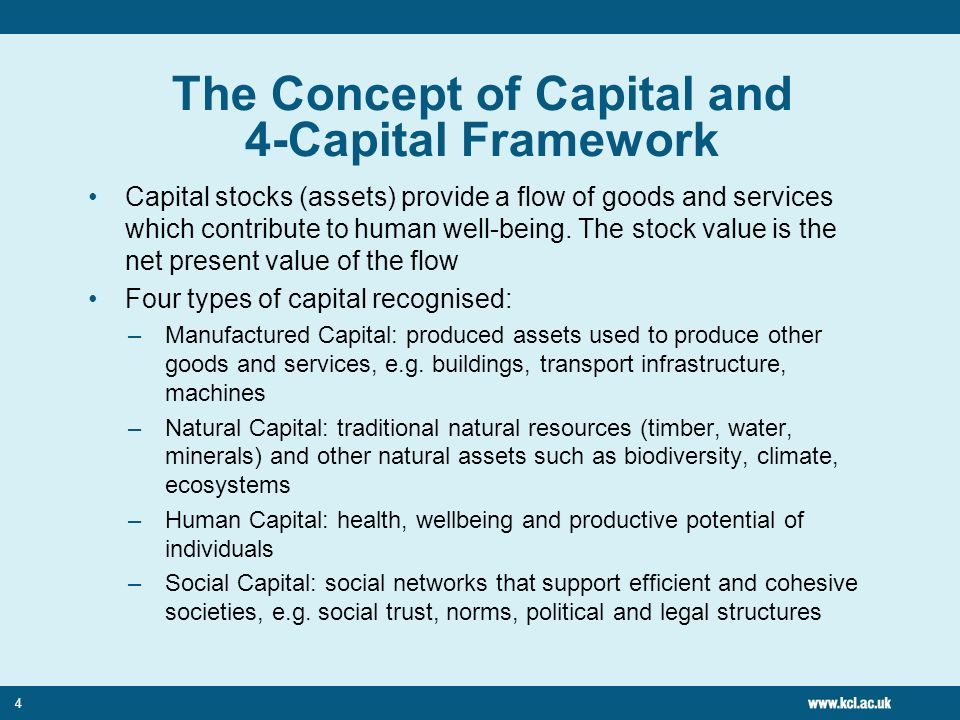 4 The Concept of Capital and 4-Capital Framework Capital stocks (assets) provide a flow of goods and services which contribute to human well-being.