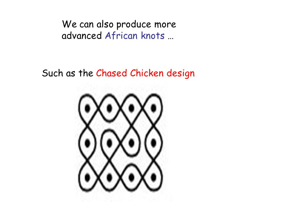 We can also produce more advanced African knots … Such as the Chased Chicken design
