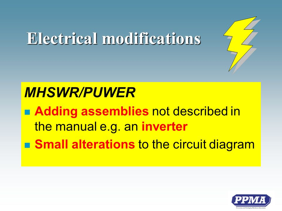 Electrical modifications MHSWR/PUWER n Adding assemblies not described in the manual e.g.