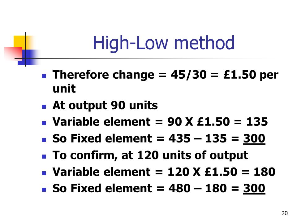 20 High-Low method Therefore change = 45/30 = £1.50 per unit At output 90 units Variable element = 90 X £1.50 = 135 So Fixed element = 435 – 135 = 300 To confirm, at 120 units of output Variable element = 120 X £1.50 = 180 So Fixed element = 480 – 180 = 300