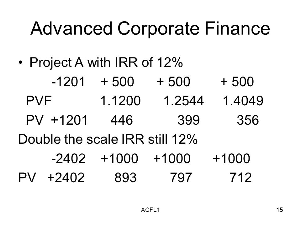 15ACFL115 Advanced Corporate Finance Project A with IRR of 12% -1201 + 500 + 500 + 500 PVF 1.1200 1.2544 1.4049 PV +1201 446 399 356 Double the scale IRR still 12% -2402 +1000 +1000 +1000 PV +2402 893 797 712