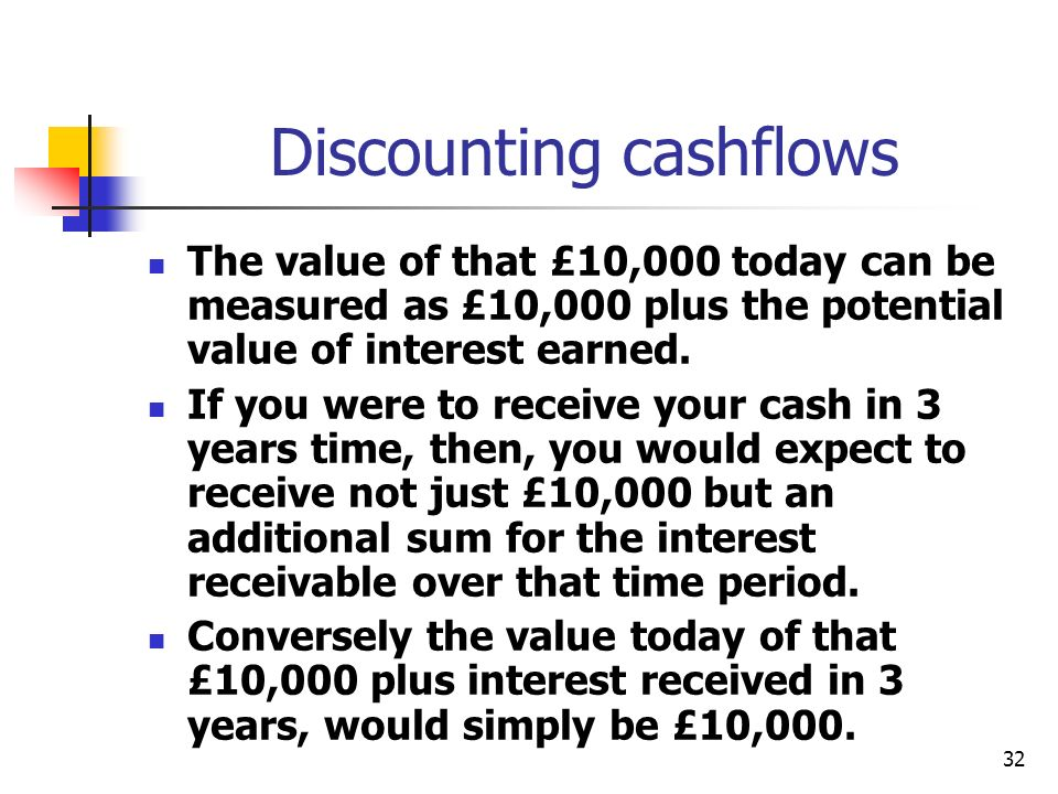 32 Discounting cashflows The value of that £10,000 today can be measured as £10,000 plus the potential value of interest earned.