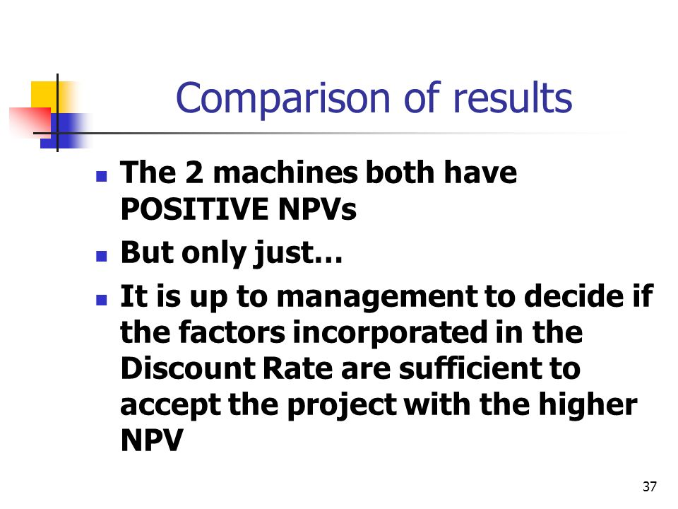 37 Comparison of results The 2 machines both have POSITIVE NPVs But only just… It is up to management to decide if the factors incorporated in the Discount Rate are sufficient to accept the project with the higher NPV