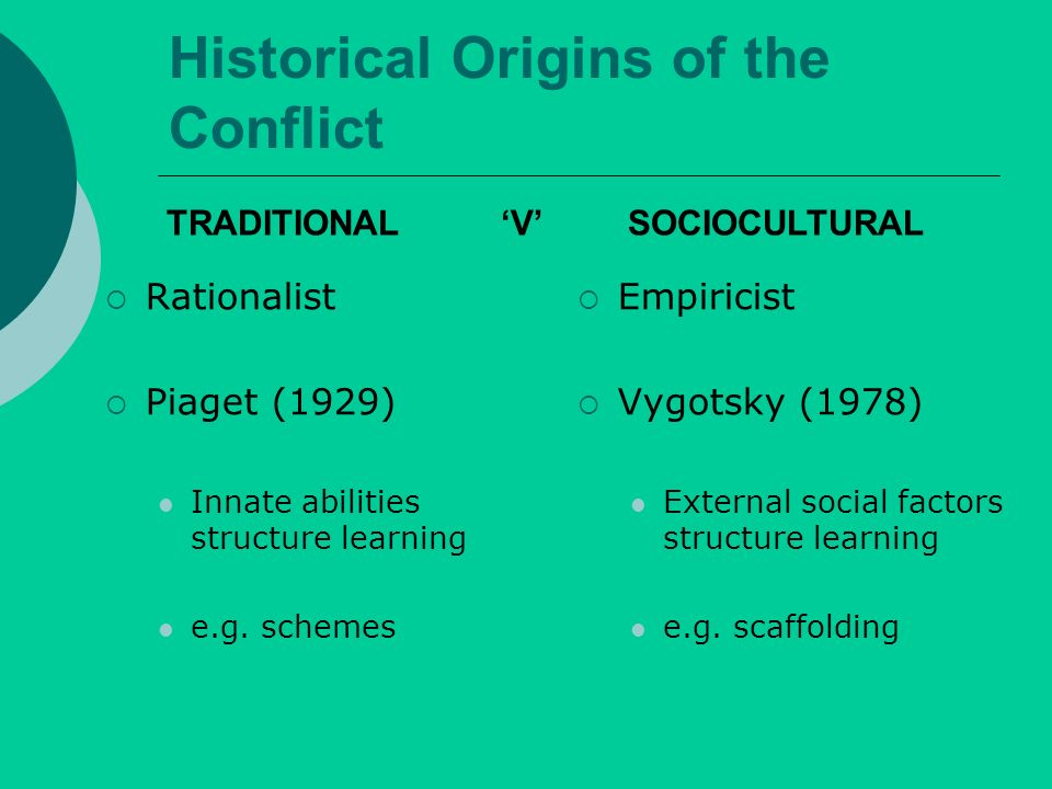 Historical Origins of the Conflict Rationalist Piaget (1929) Innate abilities structure learning e.g.