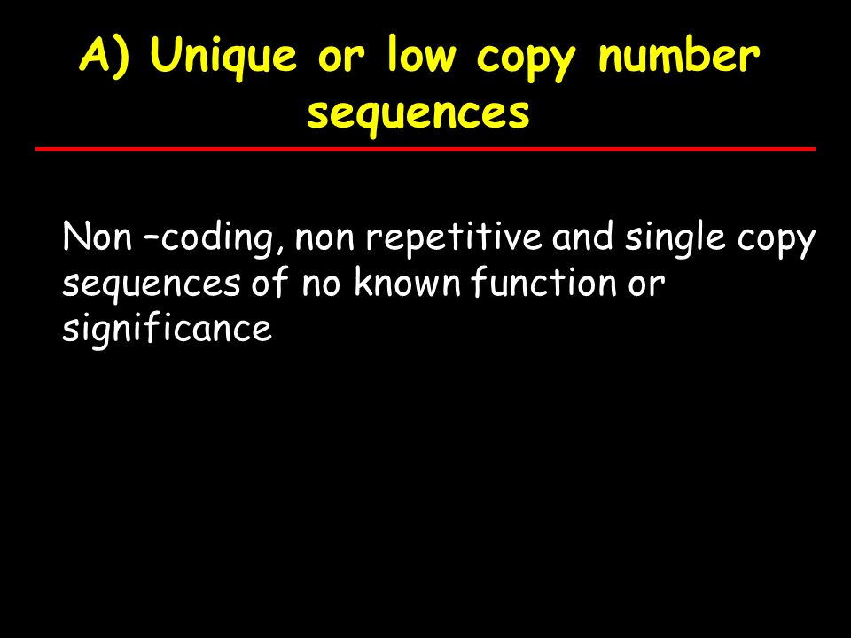 A) Unique or low copy number sequences Non –coding, non repetitive and single copy sequences of no known function or significance