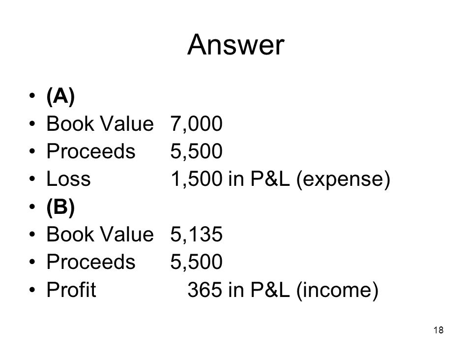 18 Answer (A) Book Value7,000 Proceeds5,500 Loss 1,500 in P&L (expense) (B) Book Value5,135 Proceeds5,500 Profit 365 in P&L (income)