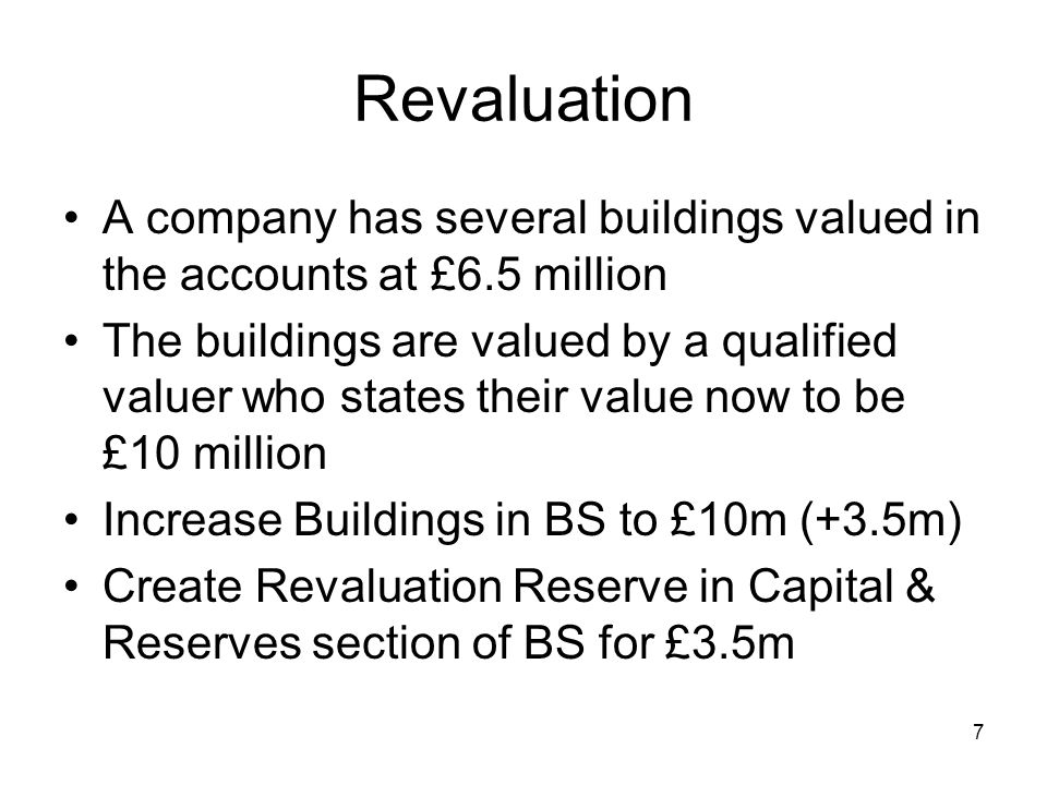 7 Revaluation A company has several buildings valued in the accounts at £6.5 million The buildings are valued by a qualified valuer who states their value now to be £10 million Increase Buildings in BS to £10m (+3.5m) Create Revaluation Reserve in Capital & Reserves section of BS for £3.5m