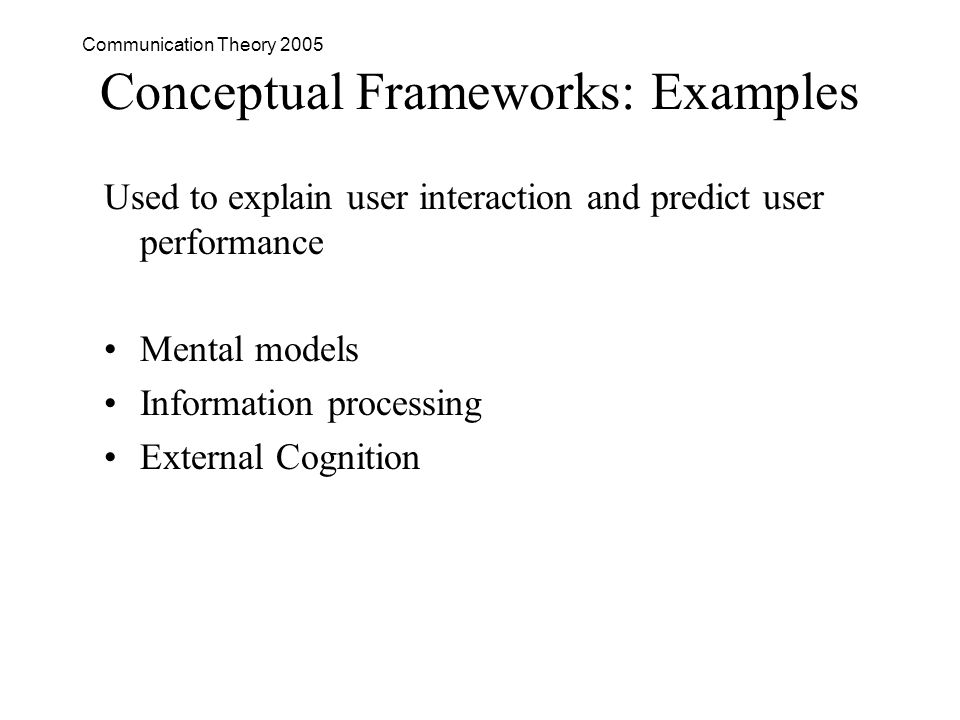 Communication Theory 2005 Conceptual Frameworks: Examples Used to explain user interaction and predict user performance Mental models Information processing External Cognition