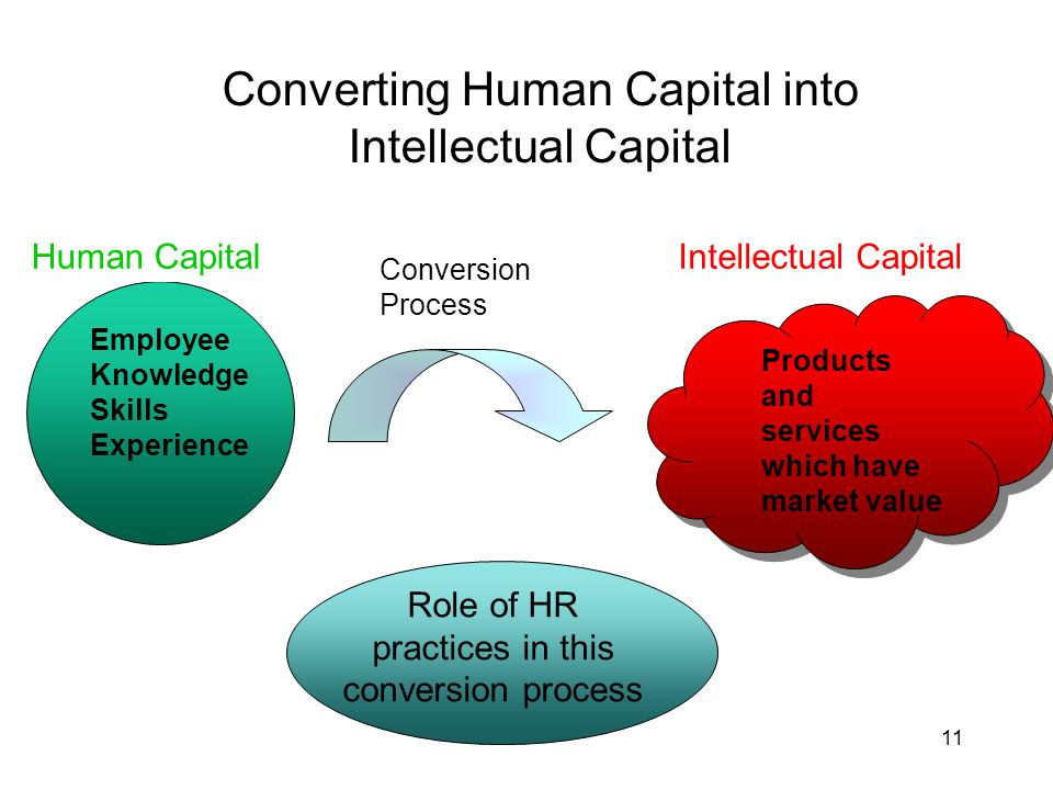 11 Converting Human Capital into Intellectual Capital Human Capital Employee Knowledge Skills Experience Conversion Process Intellectual CapitalHuman Capital Role of HR practices in this conversion process Products and services which have market value