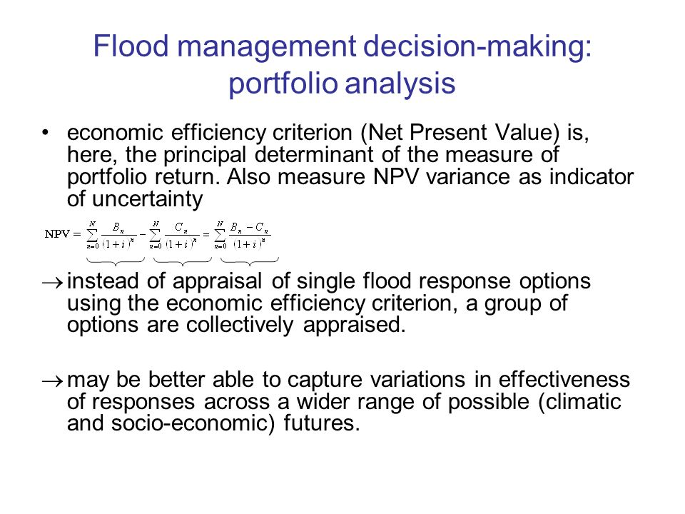 Flood management decision-making: portfolio analysis economic efficiency criterion (Net Present Value) is, here, the principal determinant of the measure of portfolio return.