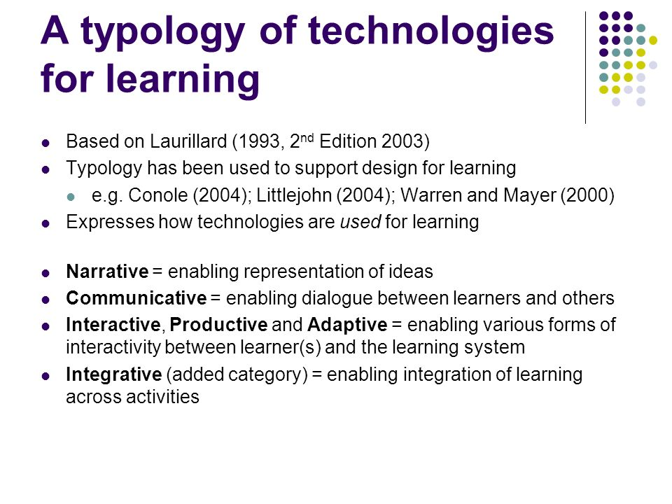 A typology of technologies for learning Based on Laurillard (1993, 2 nd Edition 2003) Typology has been used to support design for learning e.g.