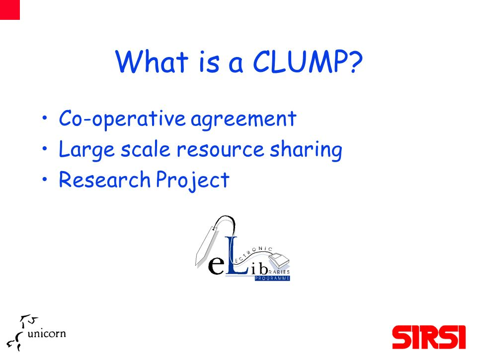 What is a CLUMP Co-operative agreement Large scale resource sharing Research Project