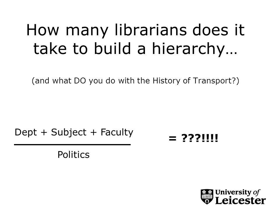 How many librarians does it take to build a hierarchy… (and what DO you do with the History of Transport ) Dept + Subject + Faculty Politics = !!!!