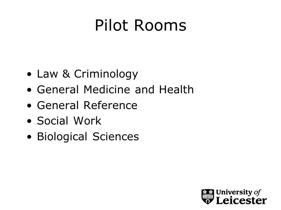 Pilot Rooms Law & Criminology General Medicine and Health General Reference Social Work Biological Sciences