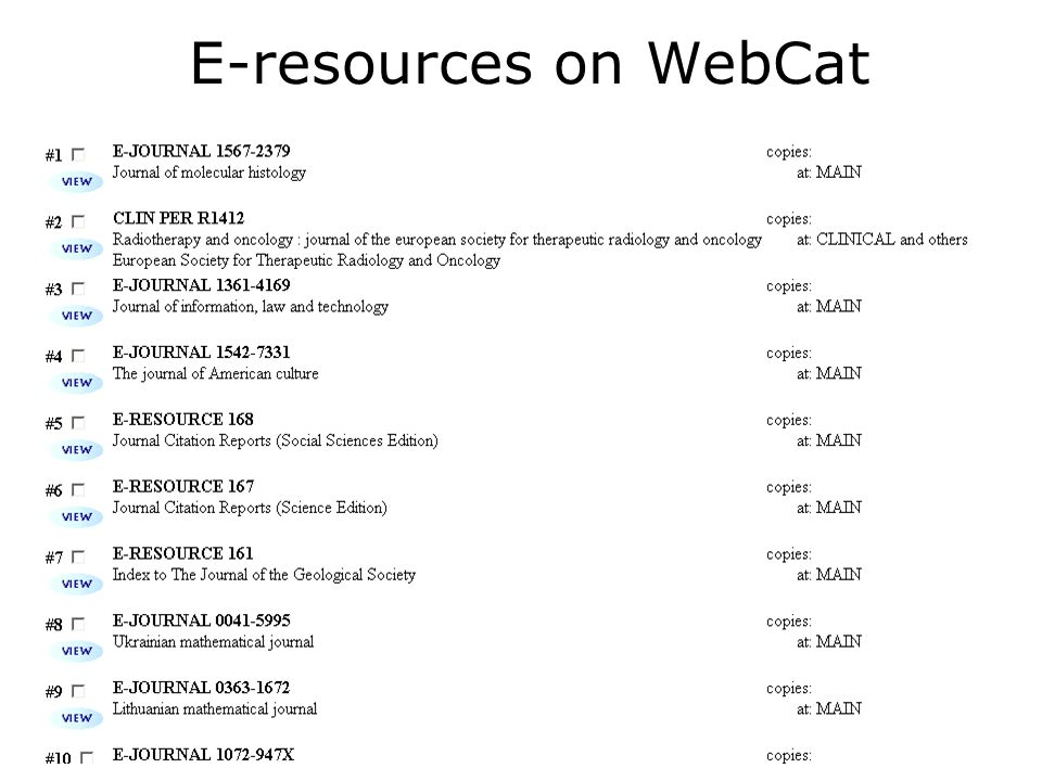 E-resources on WebCat