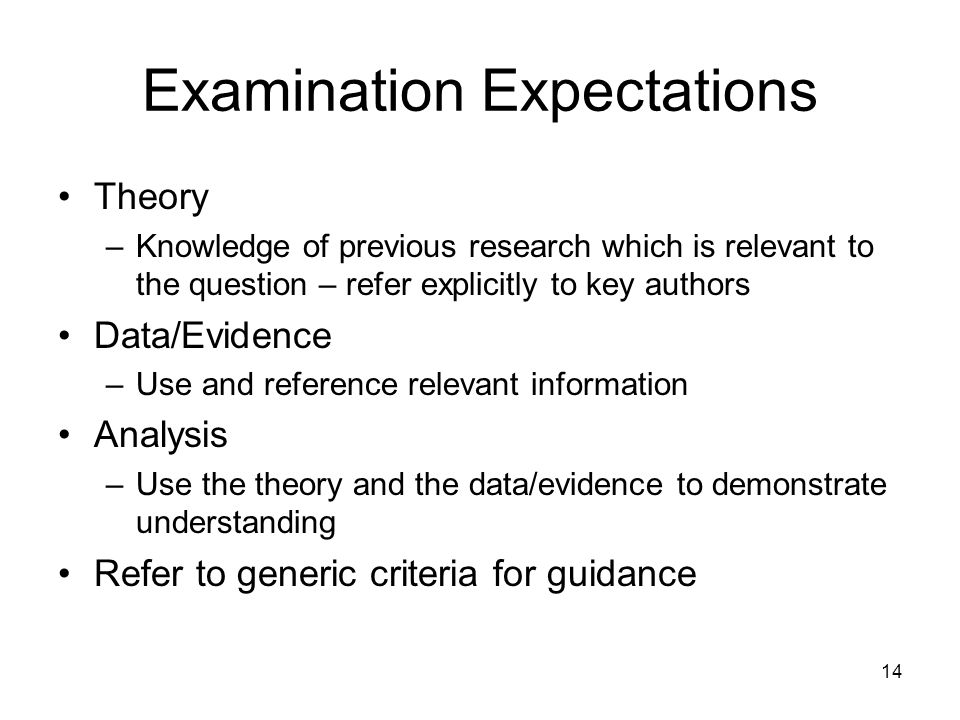 14 Examination Expectations Theory –Knowledge of previous research which is relevant to the question – refer explicitly to key authors Data/Evidence –Use and reference relevant information Analysis –Use the theory and the data/evidence to demonstrate understanding Refer to generic criteria for guidance