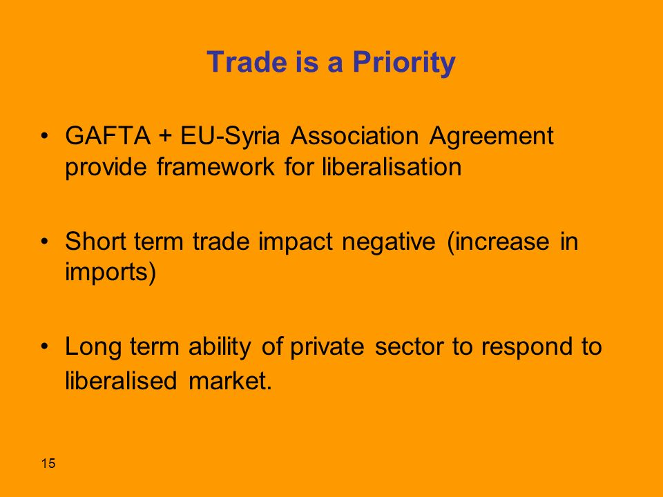 15 Trade is a Priority GAFTA + EU-Syria Association Agreement provide framework for liberalisation Short term trade impact negative (increase in imports) Long term ability of private sector to respond to liberalised market.