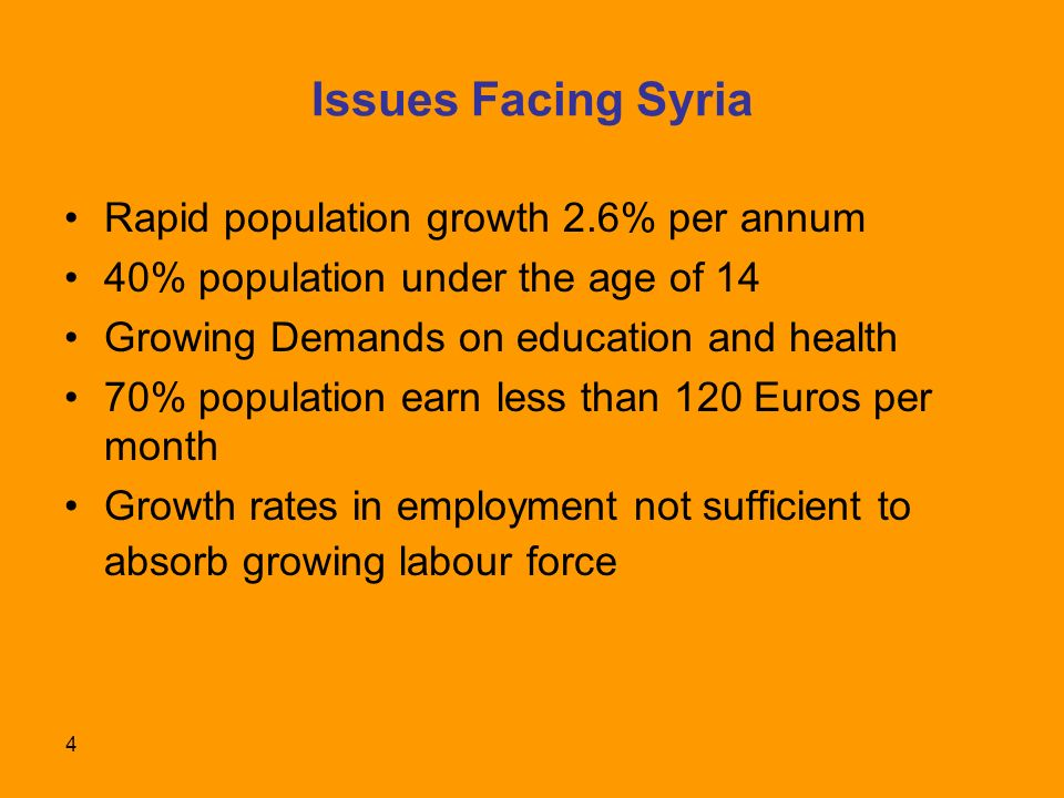 4 Issues Facing Syria Rapid population growth 2.6% per annum 40% population under the age of 14 Growing Demands on education and health 70% population earn less than 120 Euros per month Growth rates in employment not sufficient to absorb growing labour force