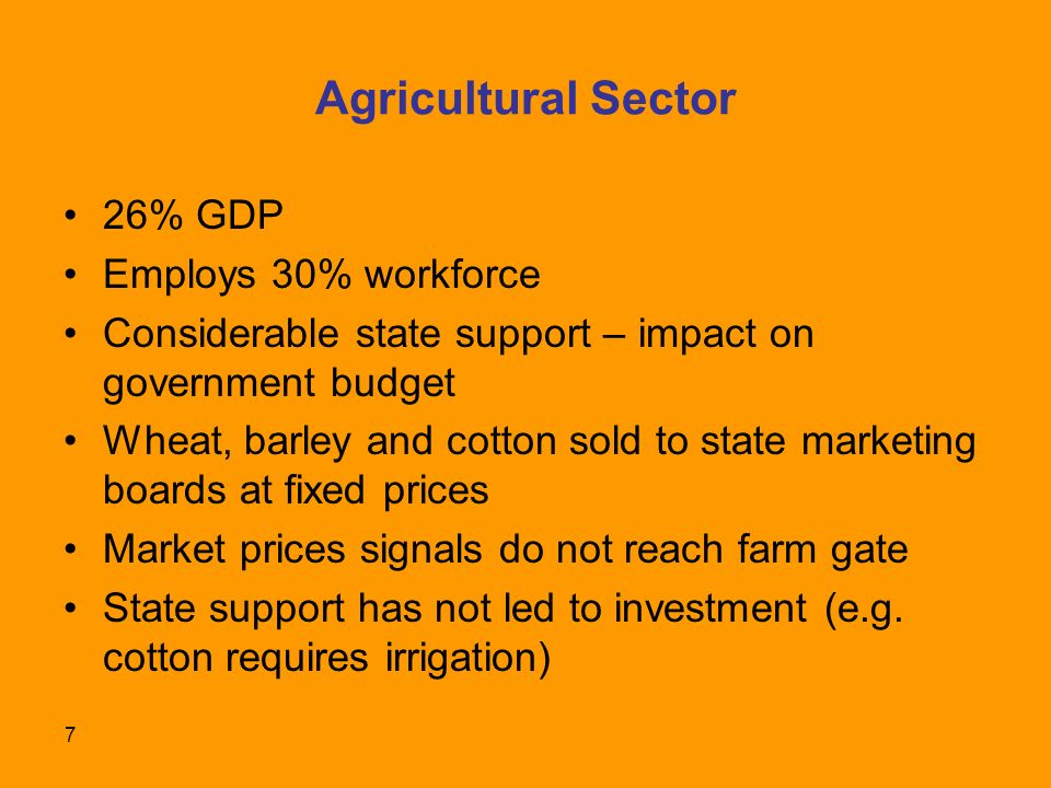 7 Agricultural Sector 26% GDP Employs 30% workforce Considerable state support – impact on government budget Wheat, barley and cotton sold to state marketing boards at fixed prices Market prices signals do not reach farm gate State support has not led to investment (e.g.