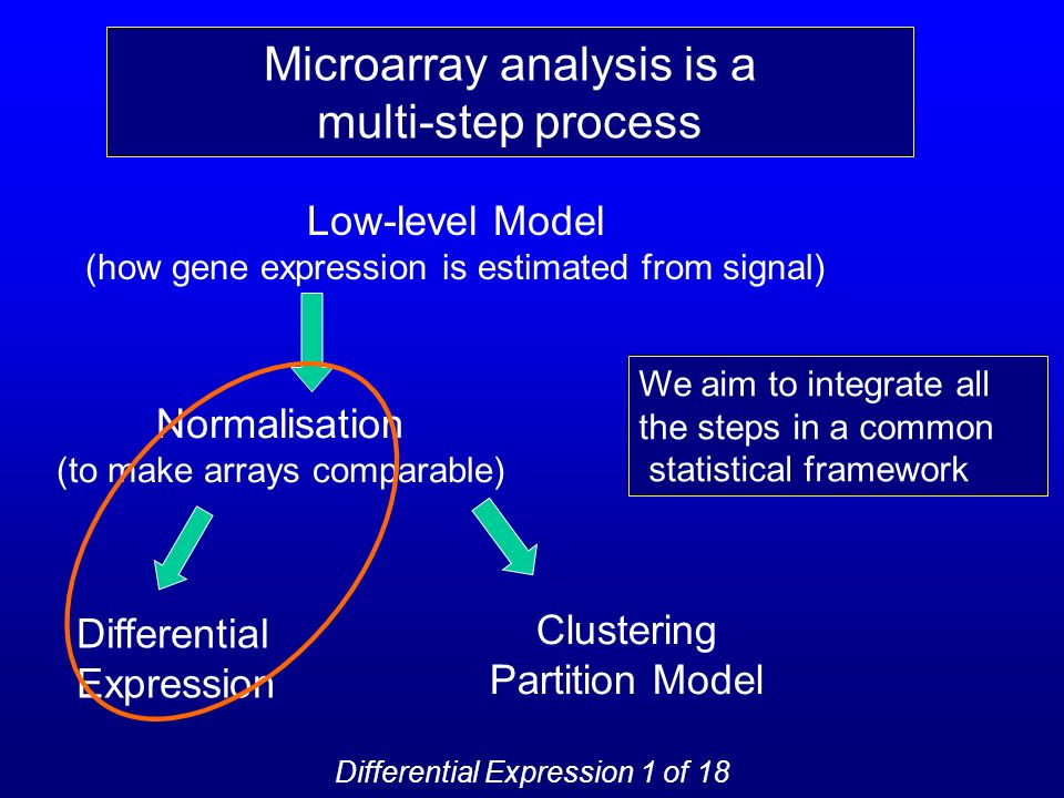 Low-level Model (how gene expression is estimated from signal) Normalisation (to make arrays comparable) Differential Expression Clustering Partition Model Microarray analysis is a multi-step process We aim to integrate all the steps in a common statistical framework Differential Expression 1 of 18