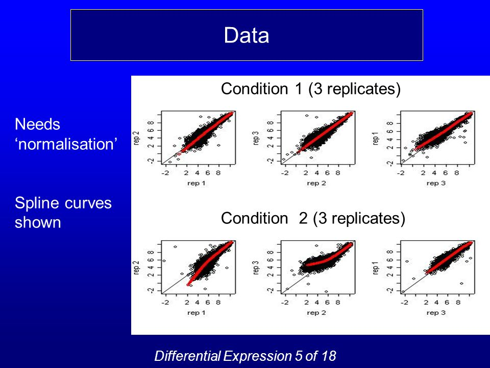 Condition 1 (3 replicates) Condition 2 (3 replicates) Needs normalisation Spline curves shown Data Differential Expression 5 of 18