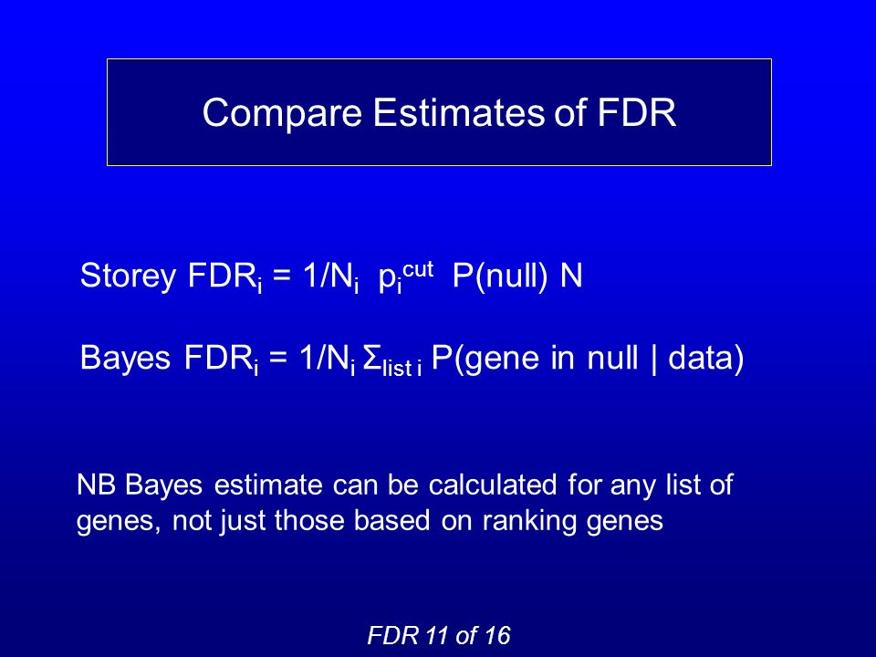 Compare Estimates of FDR FDR 11 of 16 Storey FDR i = 1/N i p i cut P(null) N Bayes FDR i = 1/N i Σ list i P(gene in null | data) NB Bayes estimate can be calculated for any list of genes, not just those based on ranking genes