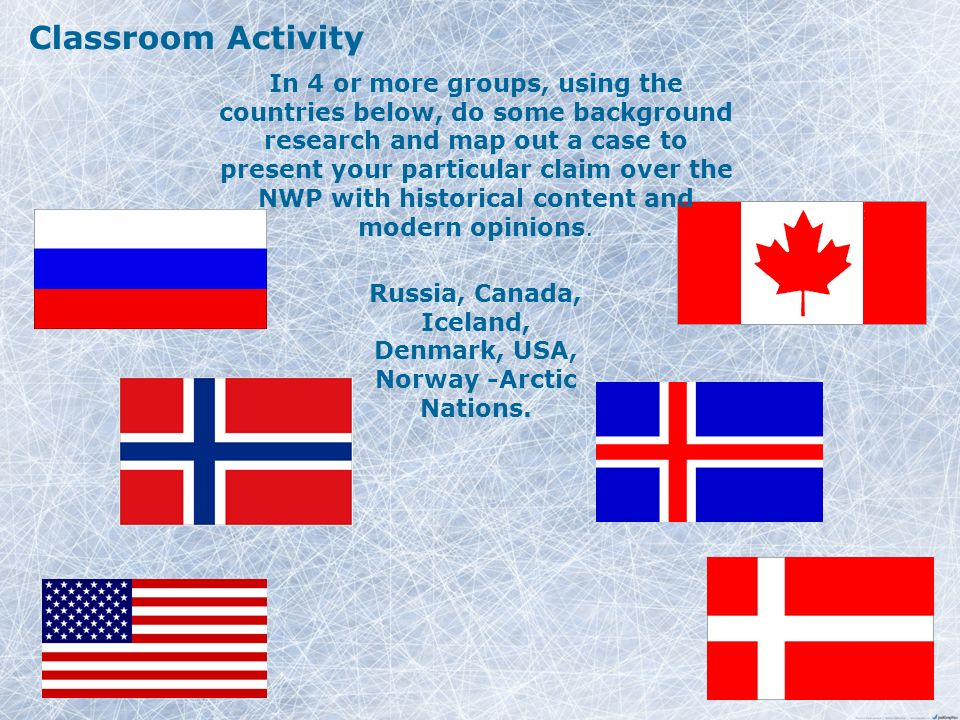 Classroom Activity In 4 or more groups, using the countries below, do some background research and map out a case to present your particular claim over the NWP with historical content and modern opinions.