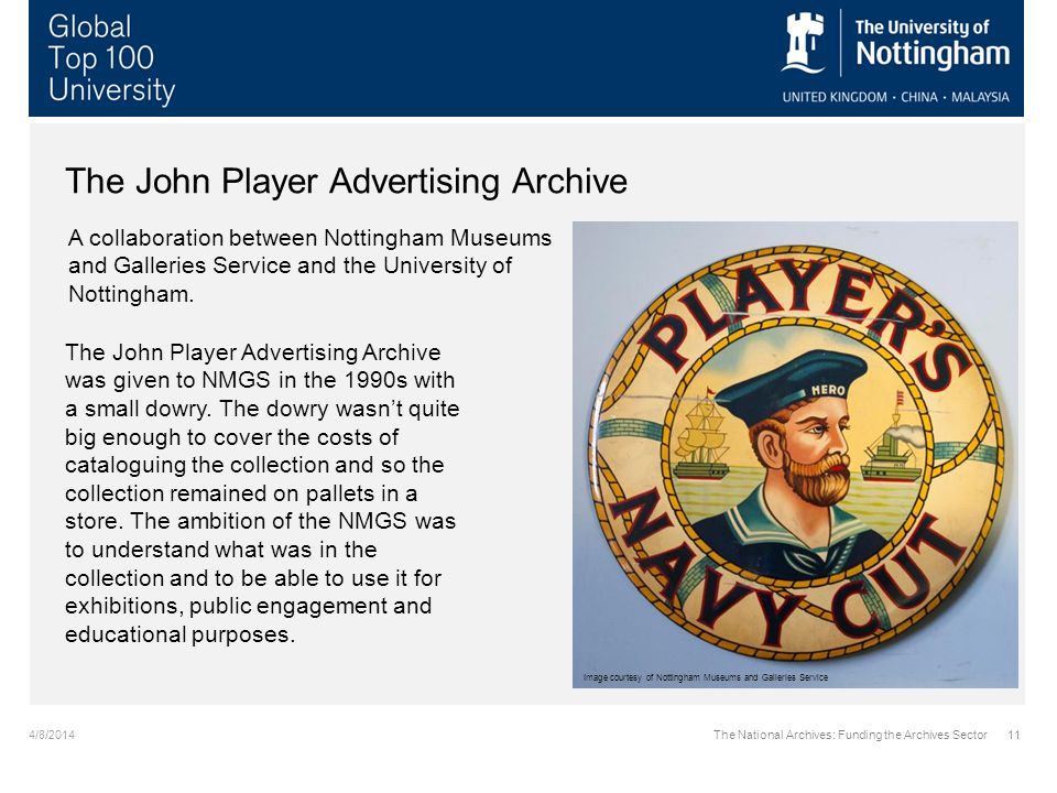 4/8/2014The National Archives: Funding the Archives Sector11 The John Player Advertising Archive A collaboration between Nottingham Museums and Galleries Service and the University of Nottingham.