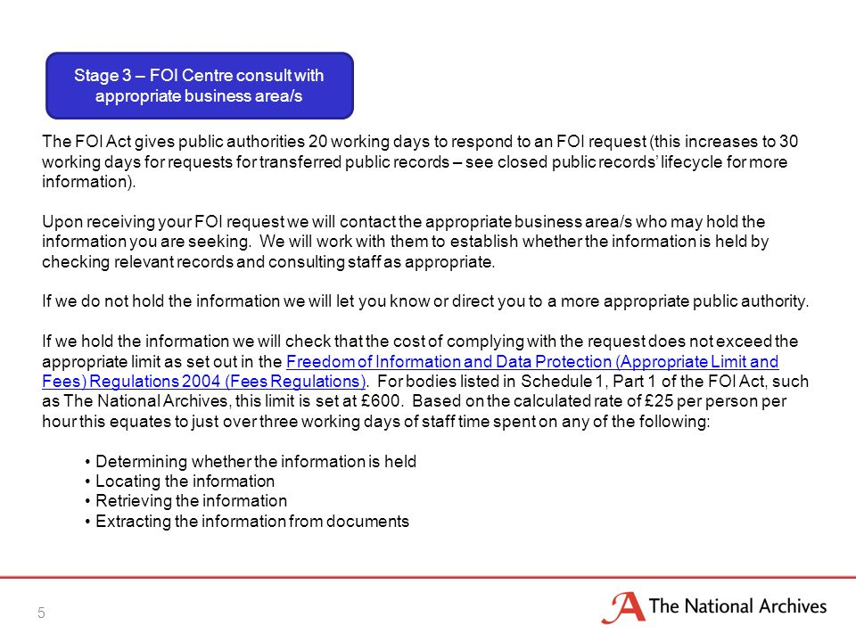 5 The FOI Act gives public authorities 20 working days to respond to an FOI request (this increases to 30 working days for requests for transferred public records – see closed public records lifecycle for more information).