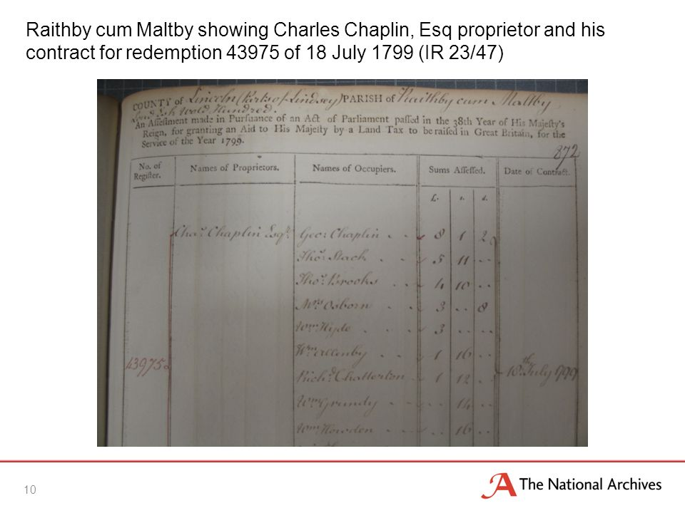 Raithby cum Maltby showing Charles Chaplin, Esq proprietor and his contract for redemption 43975 of 18 July 1799 (IR 23/47) 10