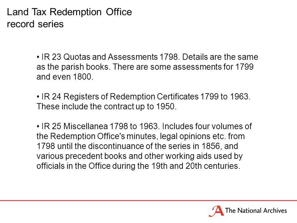Land Tax Redemption Office record series IR 23 Quotas and Assessments 1798.