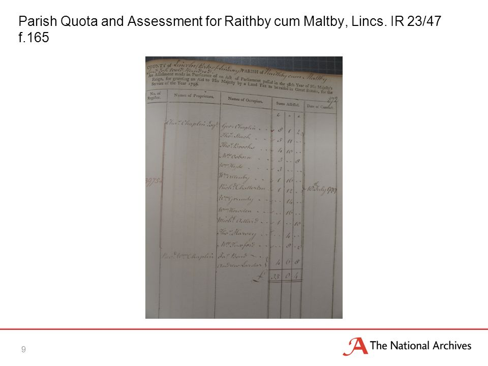 Parish Quota and Assessment for Raithby cum Maltby, Lincs. IR 23/47 f.165 9