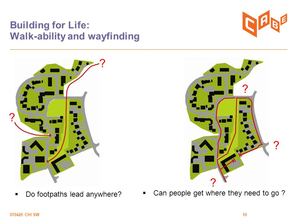 070420 CIH SW10 Building for Life: Walk-ability and wayfinding Can people get where they need to go .