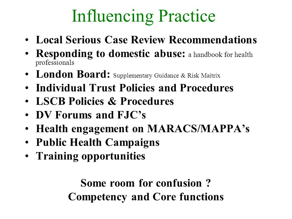 Influencing Practice Local Serious Case Review Recommendations Responding to domestic abuse: a handbook for health professionals London Board: Supplementary Guidance & Risk Maitrix Individual Trust Policies and Procedures LSCB Policies & Procedures DV Forums and FJCs Health engagement on MARACS/MAPPAs Public Health Campaigns Training opportunities Some room for confusion .