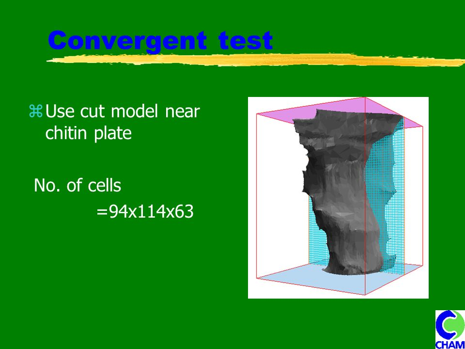 Convergent test Use cut model near chitin plate No. of cells =94x114x63