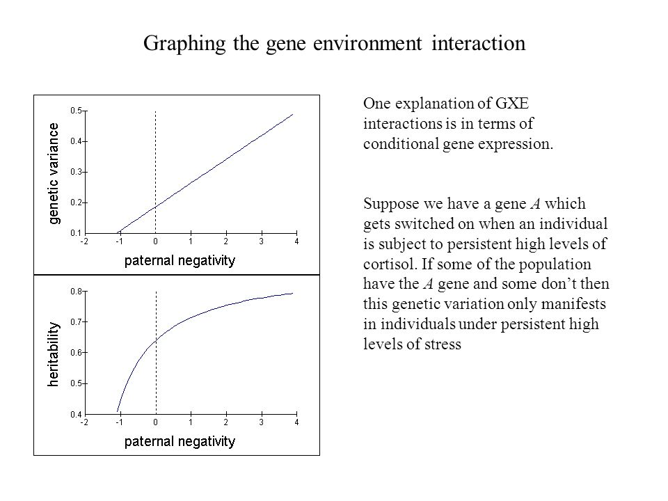 Graphing the gene environment interaction One explanation of GXE interactions is in terms of conditional gene expression.