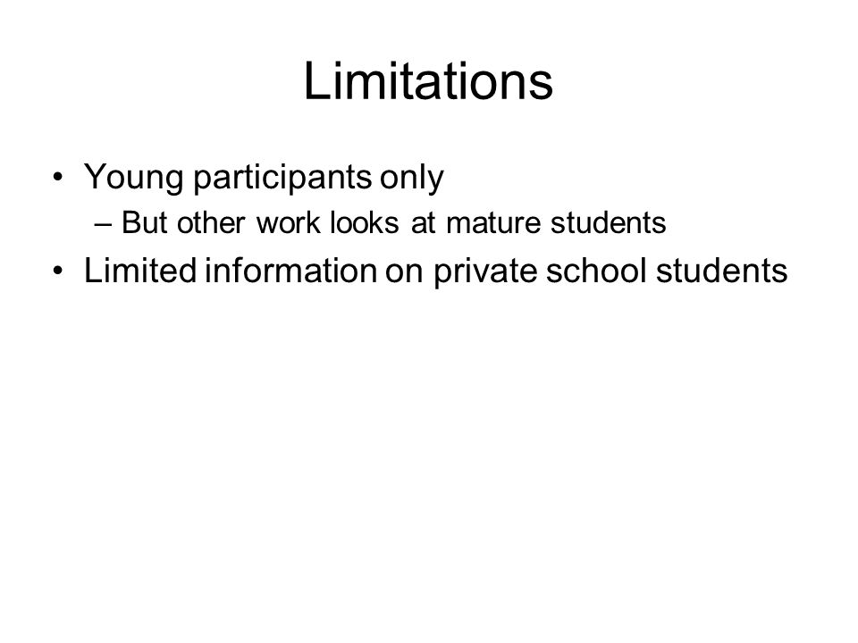 Limitations Young participants only –But other work looks at mature students Limited information on private school students