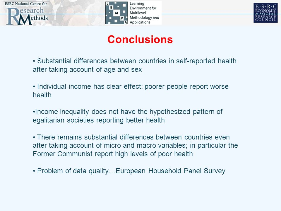 Conclusions Substantial differences between countries in self-reported health after taking account of age and sex Individual income has clear effect: poorer people report worse health Income inequality does not have the hypothesized pattern of egalitarian societies reporting better health There remains substantial differences between countries even after taking account of micro and macro variables; in particular the Former Communist report high levels of poor health Problem of data quality…European Household Panel Survey