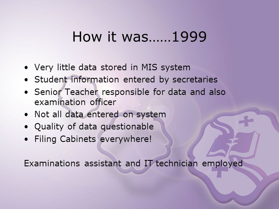 How it was……1999 Very little data stored in MIS system Student information entered by secretaries Senior Teacher responsible for data and also examination officer Not all data entered on system Quality of data questionable Filing Cabinets everywhere.