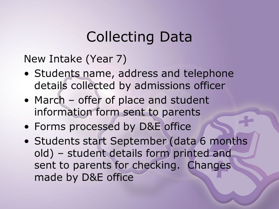 Collecting Data New Intake (Year 7) Students name, address and telephone details collected by admissions officer March – offer of place and student information form sent to parents Forms processed by D&E office Students start September (data 6 months old) – student details form printed and sent to parents for checking.