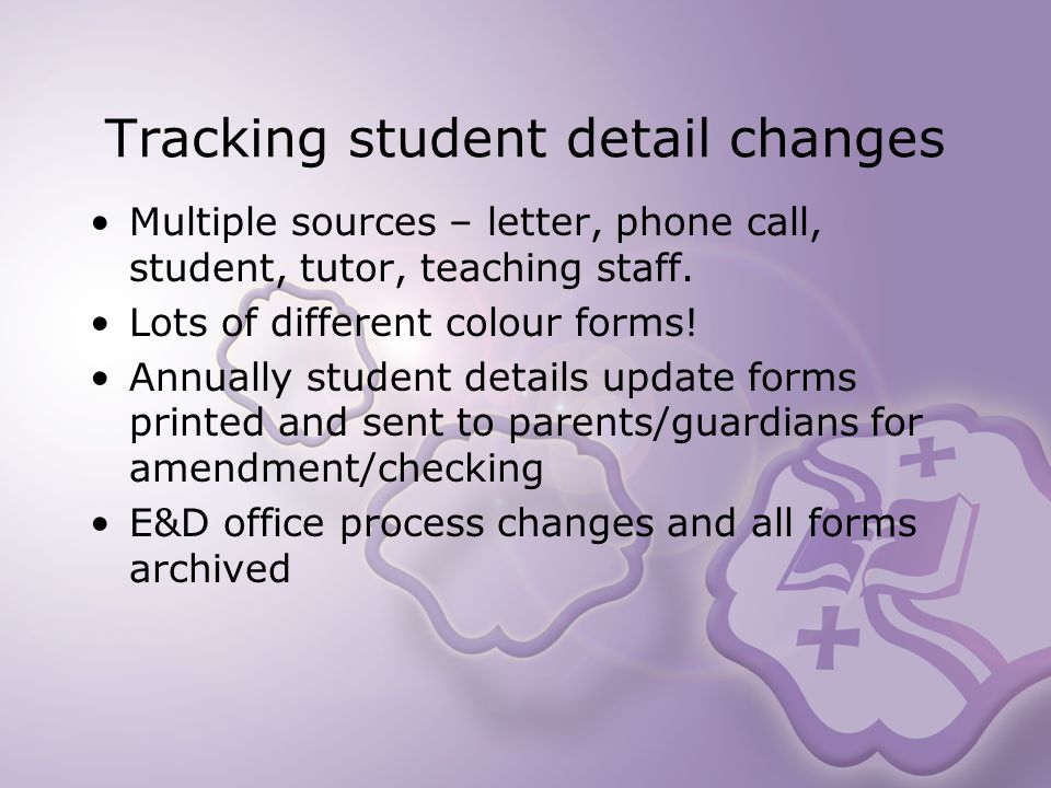 Tracking student detail changes Multiple sources – letter, phone call, student, tutor, teaching staff.