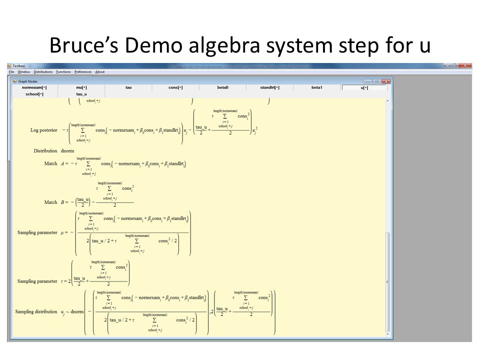 Bruces Demo algebra system step for u