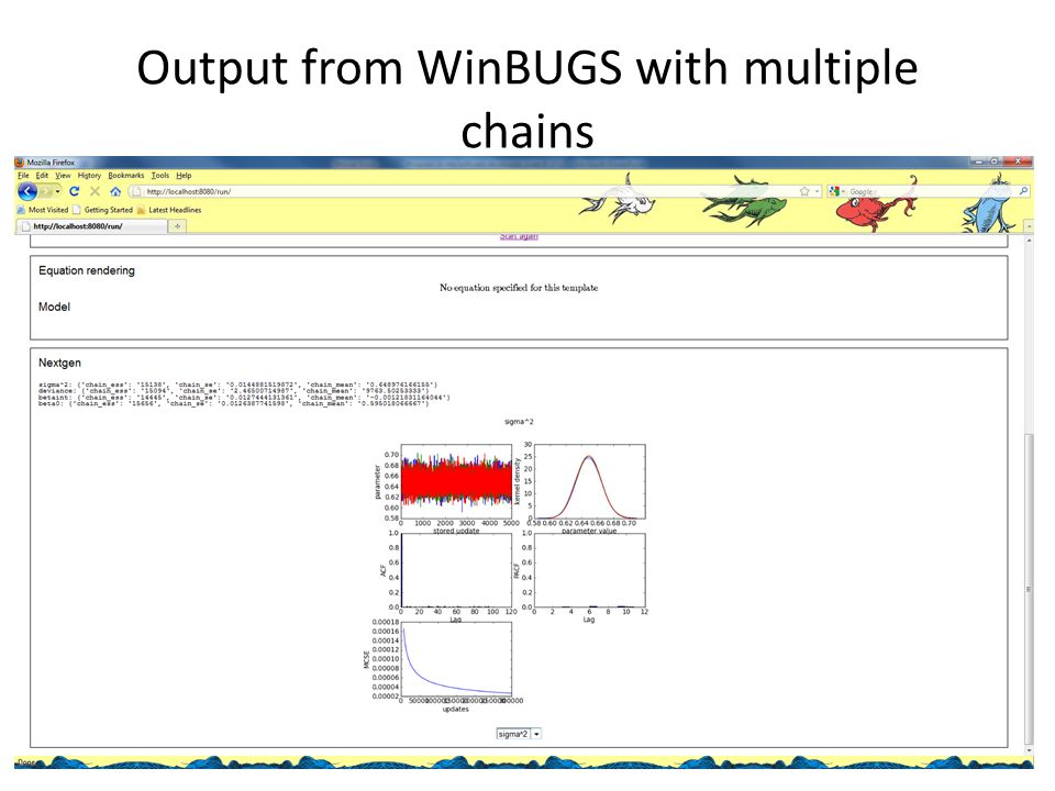Output from WinBUGS with multiple chains