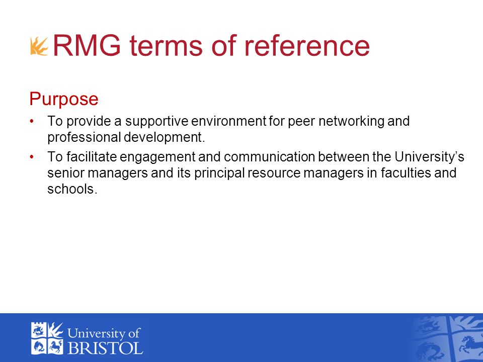 RMG terms of reference Purpose To provide a supportive environment for peer networking and professional development.