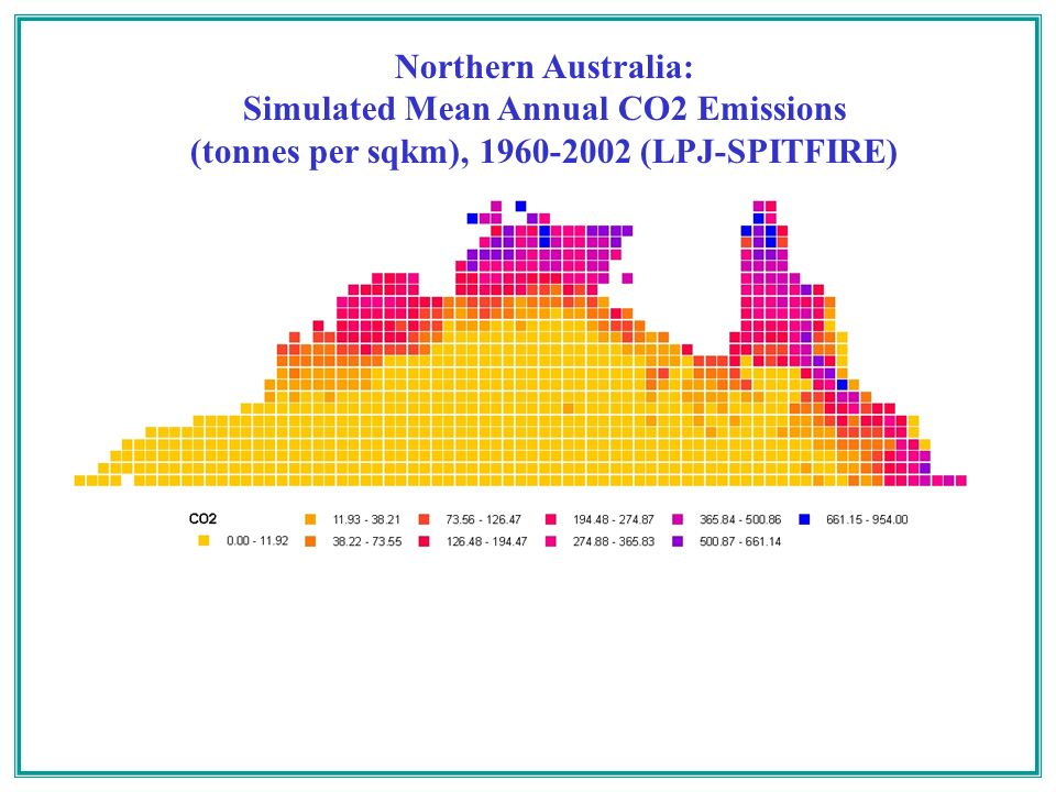 Northern Australia: Simulated Mean Annual CO2 Emissions (tonnes per sqkm), 1960-2002 (LPJ-SPITFIRE)