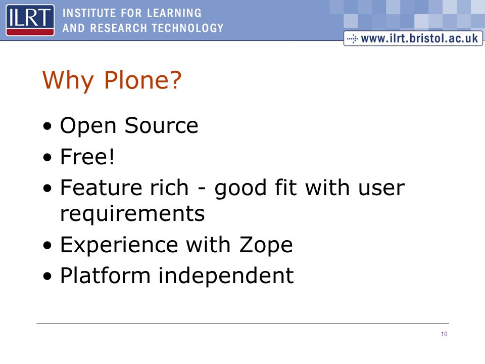 10 Why Plone. Open Source Free.