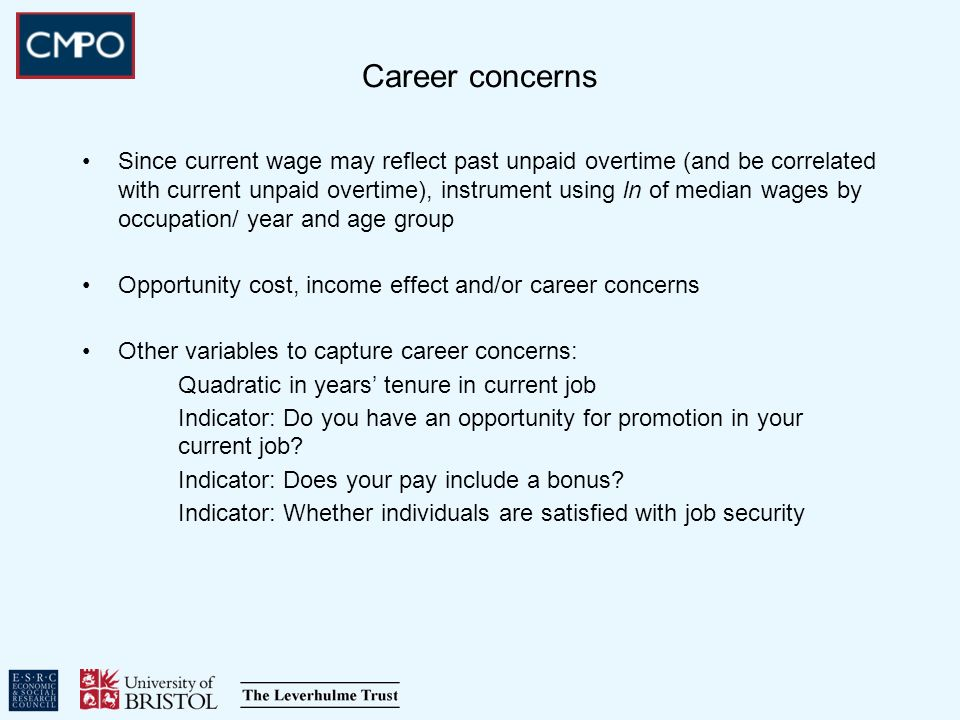 Career concerns Since current wage may reflect past unpaid overtime (and be correlated with current unpaid overtime), instrument using ln of median wages by occupation/ year and age group Opportunity cost, income effect and/or career concerns Other variables to capture career concerns: Quadratic in years tenure in current job Indicator: Do you have an opportunity for promotion in your current job.